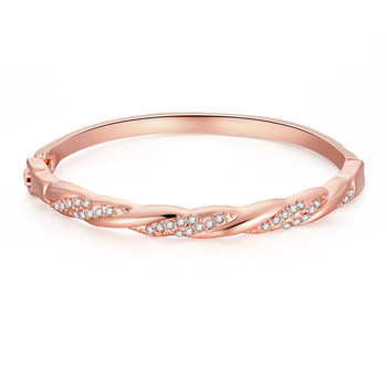 Brand Jewelry Twist Rose Gold & Gold Bracelets&Bangles For Girls Shinny Rhinestone Cuff Love Bangle Statement Jewelry Z003-AB