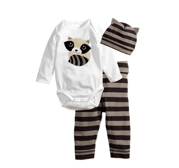 Baby romper Long sleeve Cotton newborn baby clothes baby boys girls clothing Cartoon Animal Romper+Pants+Hat 3pcs clothing set