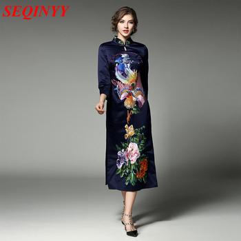High end national dress женский весна cheongsam 2017 3/4 рукав мандарин воротник феникс цветочный вышивка пластина пряжки середине dress
