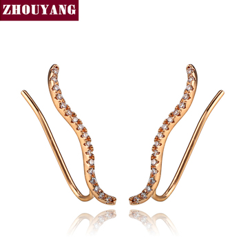 Top Quality 2016 New Cubic Zirconia Rose Gold Color Ear Hook Stud Earrings Jewelry ZYE133 ZYE134